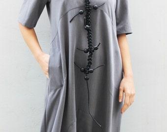 Grey loose Jumpsuit/Maxi Jumpsuit/Oversize Jumpsuit/Plus Size Jumpsuit/Woman Loose Jumpsuit/Drop Crotch Jumpsuit/ J0005
