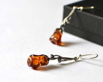 Baltic Amber Dangle Earrings, Rose Earrings, Cognac Amber Earrings, Amber Jewelry