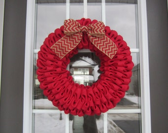 Red burlap bubble wreath with red chevron bow