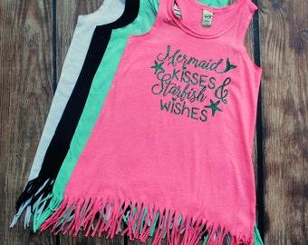 Mermaid Kisses and Starfish Wishes - Mermaids - Fringe Dress - Baby Dress - Toddler Girl Dress - Beach Dress - Summer Dress - Girls Clothing