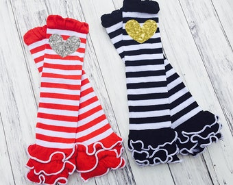 Stripe Ruffle Leg Warmers - Glitter Heart - Baby Leg Warmers - Toddler - Baby - Stripe Black White - Stripe Red Ruffle - Leg Warmers