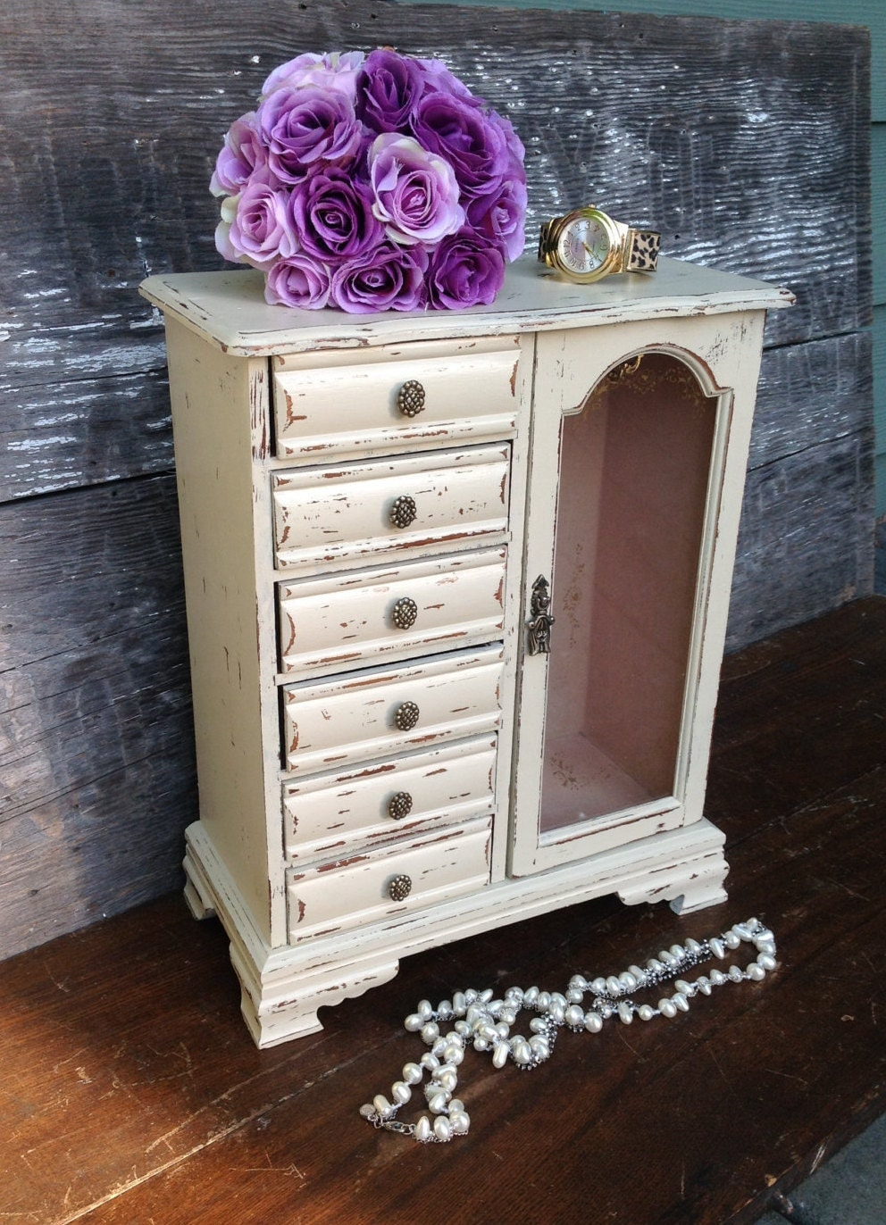 Large Off White Jewelry Box Armoire Shabby Tall Vintage Chic