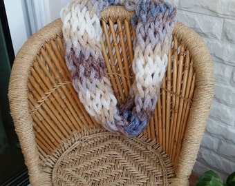 Arm Knitted Soft Scarf, Cowl, Infinity, Multicolor, Neckwarmer, Chunky, Women's
