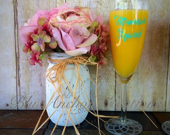 Mimosa Glass, Mimosa Squad, Girls Weekend, Mimosa Champagne Flutes, Friendship Glasses, Brunch Glasses, Bridal Brunch, Mimosa Glasses