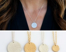 Hammered Layering Necklace, Hammered Gold Disc Necklace, Sterling Silver Gold Fill Circle Tag Necklace, Gift for her, LEILAjewelryshop