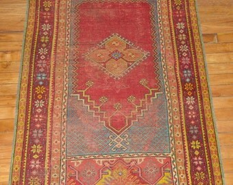 Antique Turkish Oushak Rug Size 2'11''x4'9''
