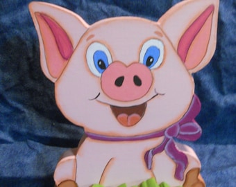 Happy Pig Wood Figurine