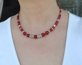Ruby Necklace, Red Ruby Necklace, Beaded Necklace, Gemstone Necklace, Red stone necklace, Silver Necklace (223)