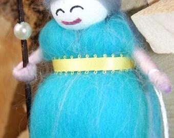 Cute Needle Felted Wool Felt Fairy. Coral and Sebastian.  Wool Felt Mermaid/Faerie