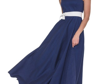 Long Summer Cotton Dress Dark Blue Sleeveless Polka Dot Spring Maxi Dress Flared Casual Dress