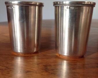 Vintage Russian silver vodka shot cups - shot glasses - solid silver