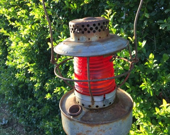 Handlan Railroad Lantern with Red Lens, Antique Railroad Lantern with Red Ribbed Globe, #R6