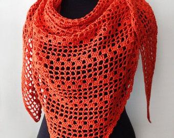 Сotton summer shawl, red shawl, crochet cotton shawl, orange shawl, terracotta shawl, lace shawl, summer shawl, womens scarf, terracotta