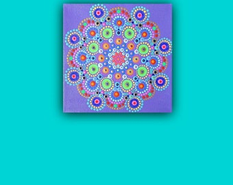 Mandala dot painting on canvas, mini painting 6 x 6 inches, ready to hang boho artwork, vibrant colorful wall art, original picture