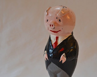 Vintage 1960's Bank On Republic Cast Iron Piggy Bank Advertising Collectible Bank