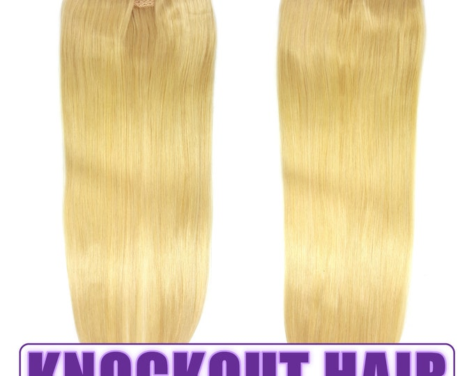 "Fits like a Halo Hair Extensions 20"" Golden Ash Blonde (#24) - Human No Clip In Flip In Couture by Knockout Hair"