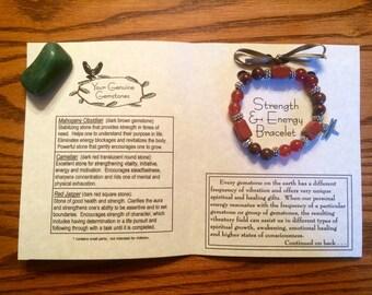 Strength and Energy Gemstone Bracelet, Healing, Energy
