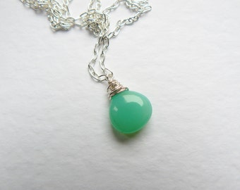 Dainty Green Chalcedony Necklace