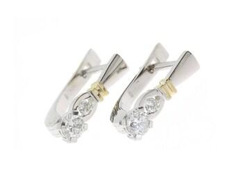 Elegant earrings, White gold earrings, Woman earrings, Geometric earrings, Art deco earrings, Modern earrings, Everyday earrings