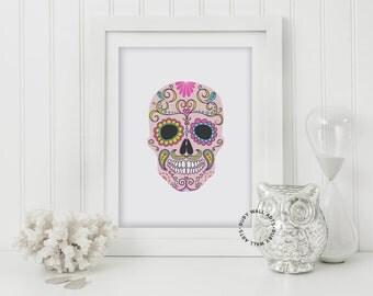 Skull Print, Sugar Skull, Anatomy, Wall Art, Home Decor, Digital Art, Printable