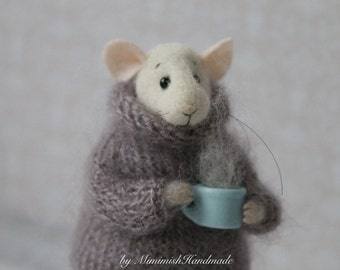 Needle Felted Mouse, Mouse With Cup, Needle Felted Animal, Waldorf Doll