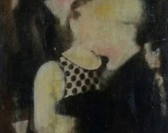 KUNST. Originalbild. Unikat. Mischtechnik. Fotoübertragung, Akrylfarbe und Aquarell. Handgemacht. A point Romance.