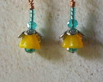 Delicate Yellow and Copper Flower Earrings