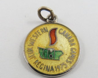 Enameled Western Canada Games Regina 1975 Sterling Silver Charm or Pendant.