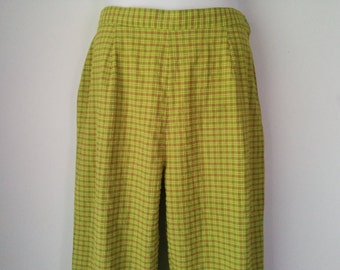 Fitted High Waist Spring Plaid Vintage Ankle Pants Size 14 by M.J. Carroll