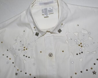 S-A-L-E * Cowgirl/Cowboy Shirt. By Freego. Size P/S. Embellished-Floral Cutwork. Made in Hong Kong. Free Us Shipping.