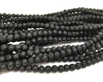 4mm Genuine Black Lava Stone Rock Full Strand (90 Round Beads)