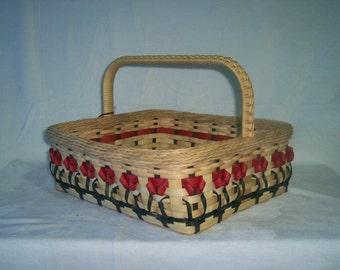 """Handcrafted Basket: 14"""" Tulip Basket"""