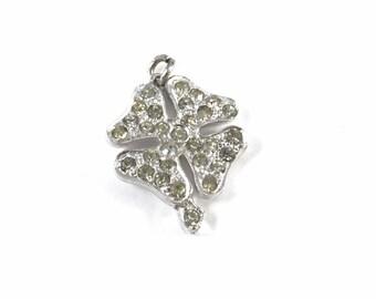 Four Leaf Clover White Crystal Pendant Necklace, Vintage Four Leaf Clover Necklace, Four Leaf Clover, Rhinestones