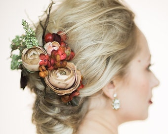 "Nature-Inspiried Bridal Headband - ""Merlot"""