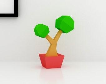 DIY Lowpoly Bonsai Tree, paper Tree, Paper Bonsai Tree, paper plants, handmade,3d Tree, Table decoration, Paper toy, Papercrafts, printables