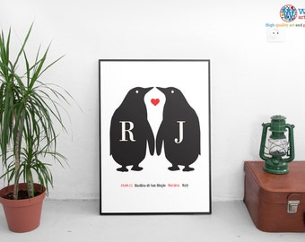 Vintage Penguin Lovers Personalised poster print - Wedding, Engagement, Lovers