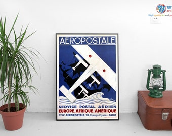Aeropostal Poster - Vintage Travel Poster - Digitally restored  print / art / poster Paris