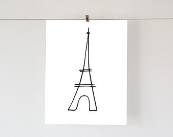 Typography print, INSTANT DOWNLOAD, Eiffel Tower,sketch, typography, wall art, paris, drawing, France