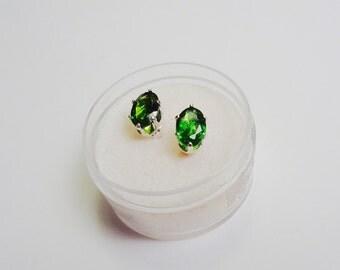 7 x 5mm. Chrome Diopside Oval Stud Earrings.