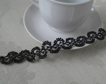 black filigree fan wave bracelent with beads