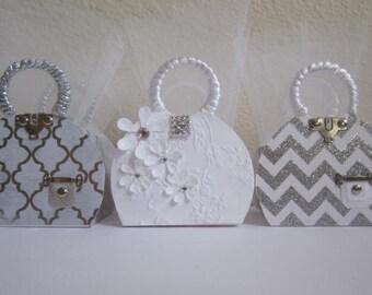 White Wedding Favor Boxes, White Bridal Favor Boxes, Bridal Shower Favor Boxes, Birthday Favor Boxes, Anniversary Favor Boxes, Purse Favors