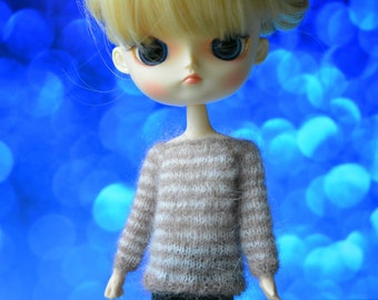 Sweater pullover mohair striped Dal Obitsu 23 21 button