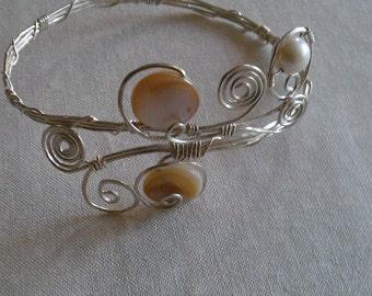 sterling silver bracelet , wire wrapped jewelry , mother of pearl bracelet , handmade sterling silver jewelry