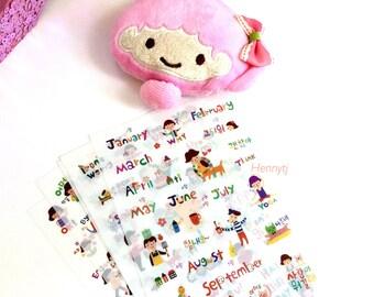 6 Sheets PVC Stickers. DAY Month  Design Daily Diary Transparent Deco Stickers. Filofax KIKKI.K Erin Condren Life Planner decorations.