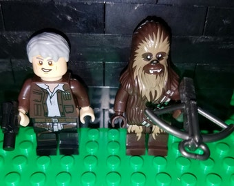 Han and Chewie Set Of 2 Star Wars Minifigures Han Solo Chewbacca Force Awakens Building Toys (LEGO Compatible)