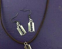 Razor Blade Necklace and Earring Set, Double Edge Razor Jewelry.