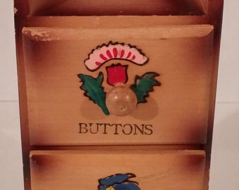 Sewing Wooden 1950s Notions Box