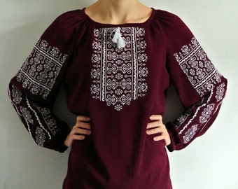 Boho embroidered blouse Marsala peasant blouse Bohemian clothing Vyshyvanka Ukrainian blouse Festival blouse Loose fitting blouse