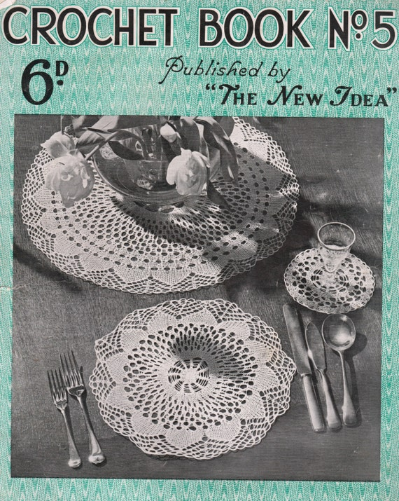 Crochet Stitches Book Pdf : 1930s crochet book, rare patterns for doyleys, 19 PDF patterns, tray ...