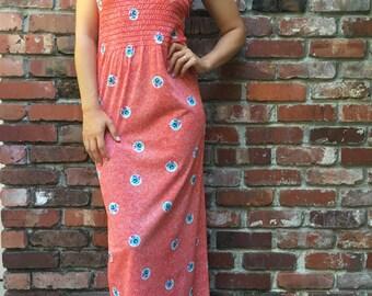 50s Summer Dress // Vintage Maxi Dress // Size S